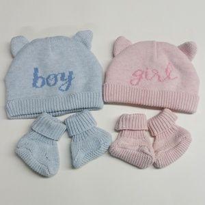 Boy girl twins matching new born beanie booties